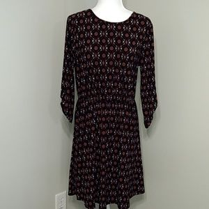 French Grey Black Floral 3/4 Sleeve Dress L 8 10
